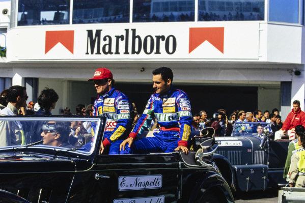 Rubens Barrichello and Emanuele Naspetti on the drivers' parade.