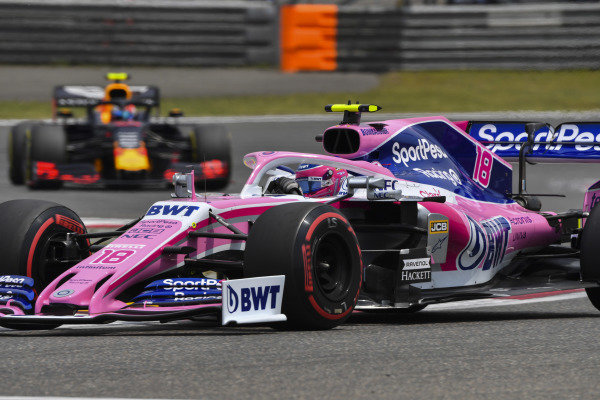 Lance Stroll, Racing Point RP19, leads Pierre Gasly, Red Bull Racing RB15