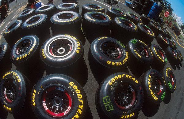 1994 Australian Grand Prix.Adelaide, Australia.11-13 November 1994.A spread of Ferrari wheels laid out in the paddock.Ref-94 AUS 27.World Copyright - LAT Photographic