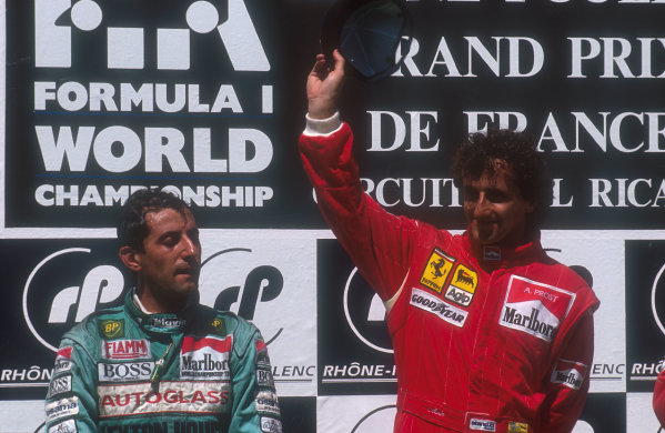 1990 French Grand Prix.Paul Ricard, Le Castellet, France.6-8 July 1990.Alain Prost (Ferrari ) 1st position with Ivan Cpelli (Leyton House Judd) 2nd position on the podium.Ref-90 FRA 06.World Copyright - LAT Photographic