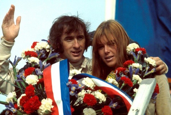 Winner Jackie Stewart (GBR) Matra, with his wife Helen Stewart (GBR) at Formula One World Championship, French Grand Prix, Clermont Ferrand, France, 6 July 1969. BEST IMAGE