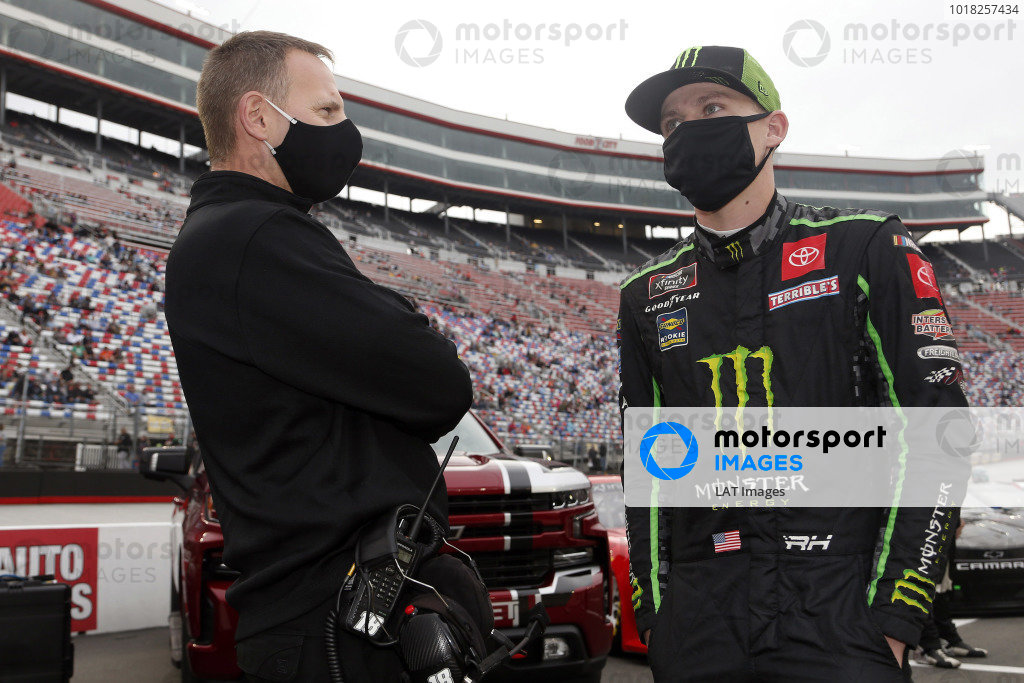 #18: Riley Herbst, Joe Gibbs Racing, Toyota Supra Monster Energy and Dave Rogers