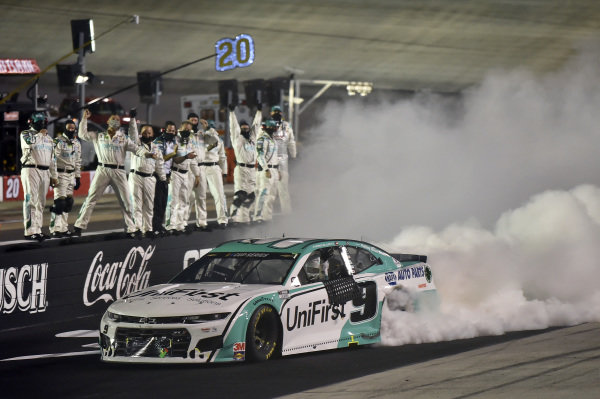 #9: Chase Elliott, Hendrick Motorsports, Chevrolet Camaro UniFirst, celebrates after winning the ALL Star race in Bristol.