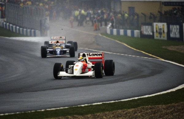 Ayrton Senna, McLaren MP4-8 Ford, leads Alain Prost, Williams FW15C Renault, and Damon Hill, Williams FW15C Renault.