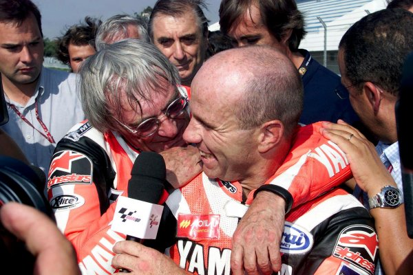 2001 Motorbike 500cc ChapionshipEstoril, Portugal. 8th September 2001.Bernie Ecclestone gets the ride of his life at the Portuguese MotoGP on Saturday 8th Sept 2001. Ridden on Yamaha's 2 seater YZR 500 GP bike by 13 times GP winner Randy Mamola.World Copyright: Golden Goose.ref: Digital Image Only