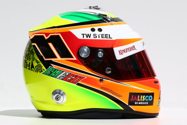 Albert Park, Melbourne, Australia. Thursday 13 March 2014. The helmet of Sergio Perez (MEX) Sahara Force India F1. World Copyright: xpb Images/LAT Photographic. ref: Digital Image 2014helmets24