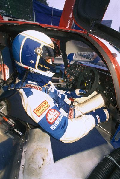 Sebring 12 Hours, Florida, USA. 16th March 1991. Rd 3. Geoff Brabham (Nissan NPT-90), 1st position, portrait.  World Copyright: Bill Murenbeeld/LAT Photographic. Ref:  91IMSA SEB 09.