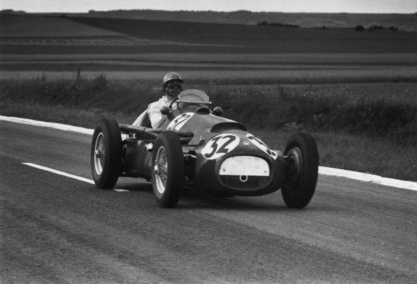 Reims, France. 4th July 1954.Lance Macklin (HWM-Alta), retired, action. World Copyright: LAT Photographic.Ref:  B/W Print.