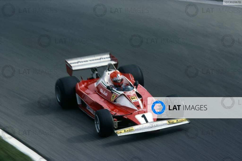 1976 Italian Grand Prix.Monza, Italy. 10th - 12th September 1976.Niki Lauda (Ferrari 312T2), 4th position.World Copyright: LAT Photographic.ref: 35mm Transparency