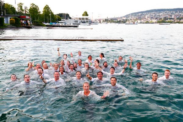 ABB Formula E Team jump into Lake Zurich.ABB Formula E Team jump into Lake Zurich.