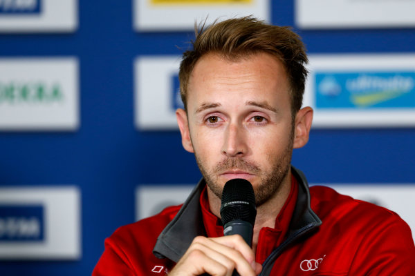 2017 DTM Round 9  Hockenheimring, Germany  Friday 13 October 2017. Press Conference: René Rast, Audi Sport Team Rosberg, Audi RS 5 DTM  World Copyright: Alexander Trienitz/LAT Images ref: Digital Image 2017-DTM-HH2-AT2-0114