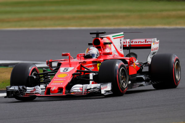 Silverstone, Northamptonshire, UK.  Friday 14 July 2017. Sebastian Vettel, Ferrari SF70H. World Copyright: Zak Mauger/LAT Images  ref: Digital Image _56I8651