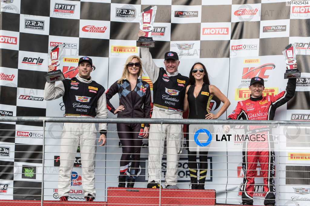 4-6 March, 2016, Austin, Texas USA Podium finishers, L to R, Michael Cooper, Johnny O'Connell, Jon Fogarty ?2016, Brian Cleary LAT Photo USA