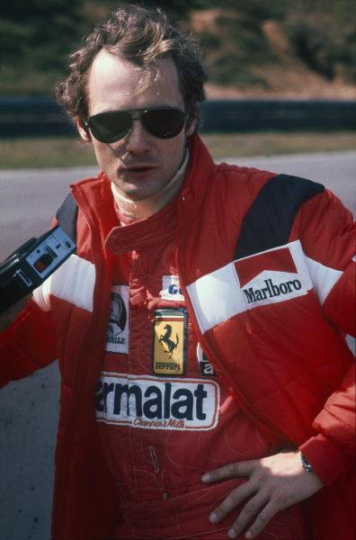 Zolder, Belgium. 14th - 16th May 1976. Niki Lauda (Ferrari 312T2), 1st position, portrait.  World Copyright: LAT Photographic.  Ref: 76 BEL 32.