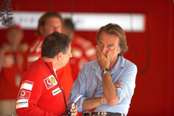2005 Italian Grand Prix - Sunday Race,Monza, Italy. 4th September 2005Jean Todt, Ferrari talks to Luca Di Montezemolo, Ferrari President. World Copyright: Michael Cooper/LAT Photographic ref: 48mb Hi Res Digital Image