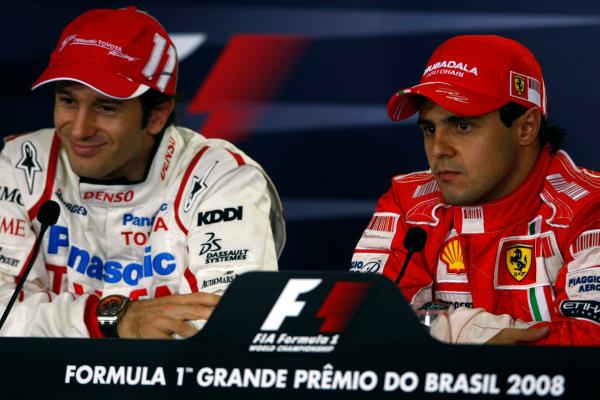 Interlagos, Sao Paulo, Brazil1st November 2008Jarno Trulli, Toyota TF108, and Felipe Massa, Ferrari F2008, in the post qualifying press conference. Portrait. Press Conferences.World Copyright: Charles Coates/LAT Photographicref: Digital Image _26Y8608