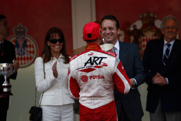 Saturday Race. 23rd May 2009. Pastor Maldonado (VEN, ART Grand Prix) celebrates his victory on the podium. World Copyright: Andrew Ferraro / GP2 Series Media Service.Ref: _H0Y0261 jpg