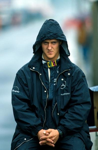 Michael Schumacher (GER) is not happy that it is raining.  Sportscar World Championship, Monza, Italy, 5 May 1991.