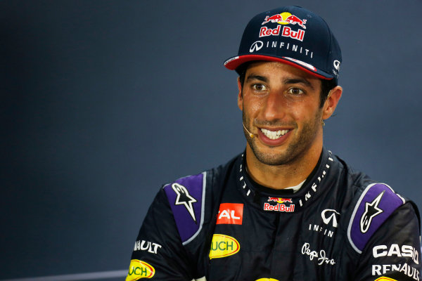 Marina Bay Circuit, Singapore. Sunday 20 September 2015. Daniel Ricciardo, Red Bull Racing, 2nd Position, in the Press Conference. \World Copyright: Alastair Staley/LAT Photographic ref: Digital Image _R6T7469