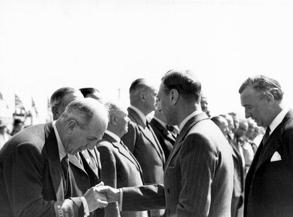 1950 British Grand Prix.Silverstone, Great Britain. 13th May 1950.King George VI.World Copyright: LAT Photographicref: B&W Print