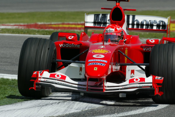 2004 San Marino Grand Prix - Friday Practice,Imola, Italy.23rd April 2004Michael Schumacher, Ferrari F2004, action.World Copyright LAT PhotographicDigital image only.