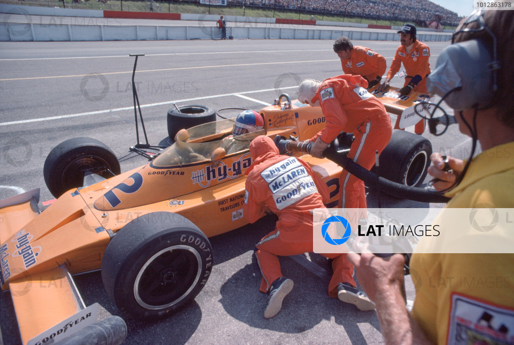 1976 USAC Indycar Series.Pocono, PA, USA. 27th June 1976.Johnny Rutherford (McLaren-Offenhauser), 4th position.World Copyright: Murenbeeld/LAT Photographic