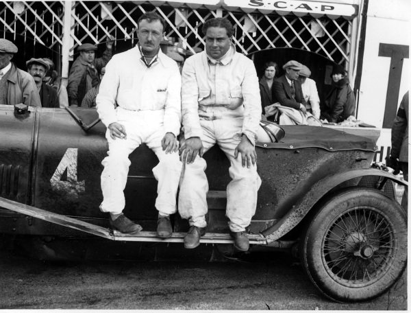 "Le Mans, France. 16th - 17th June 1928. Henry ""Tim"" Birkin (left) and Woolf Barnato (Bentley 4.5 litre), portrait. World Copyright: LAT Photographic. Ref: Autocar Glass Plate A9989."