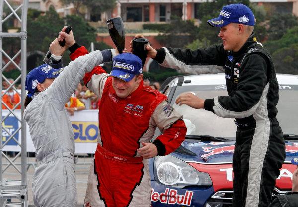 2012 FIA World Rally Championship Round 12, Rally d'Italia Sardinia 2012 18th - 21st October 2012 Evgeney Novikov, Ott Tanak, Ford, podium Worldwide Copyright: McKlein/LAT