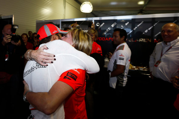Circuit of the Americas, Austin, Texas, United States of America. Sunday 18th November 2012. Lewis Hamilton, McLaren, 1st position, celebrates victory with his step mother Linda. World Copyright:Charles Coates/  ref: Digital Image _N7T2768