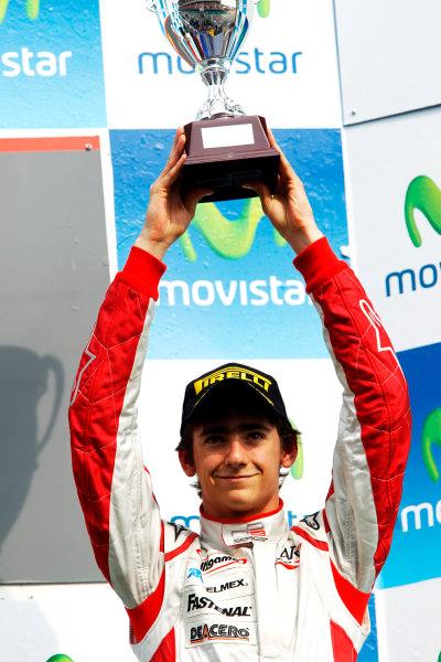 Circuit de Catalunya, Spain. 9th May 2010. Sunday Race. Esteban Gutierrez, (MEX, ART Grand Prix) celebrates on the podium.Portrait. Photo: Andrew Ferraro/GP3 Media Service. Digital Image _Q0C2796