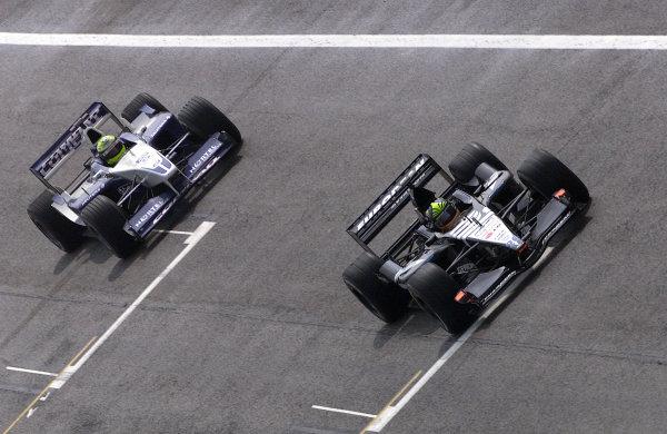 2001 San Marino Grand Prix.Imola, Italy. 13-15 April 2001.Ralf Schumacher (Williams FW23 BMW) follows Tarso Marques (Minardi PS01 European).World Copyright - Steve Etherington/LAT Photographicref: 17 5 mb digital image.
