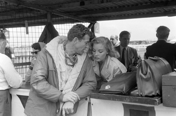 Carroll Shelby with actress, Jan Harrison in the pits.