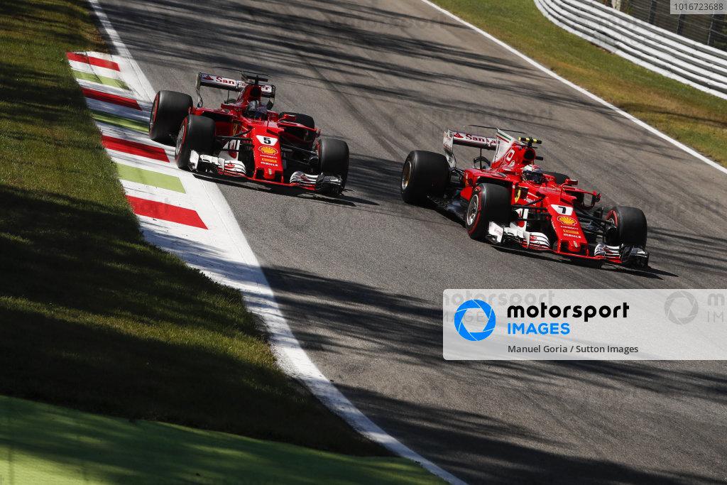 Sebastian Vettel (GER) Ferrari SF70-H and Kimi Raikkonen (FIN) Ferrari SF70-H battle at Formula One World Championship, Rd13, Italian Grand Prix, Race, Monza, Italy, Sunday 3 September 2017. BEST IMAGE