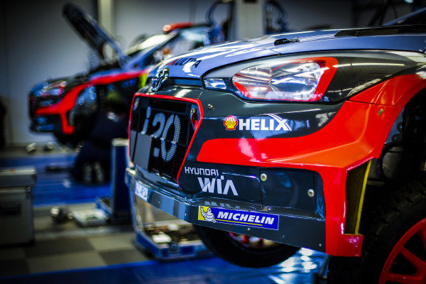 The car of Thierry Neuville (BEL) / Nicolas Gilsoul (BEL), Hyundai Motorsport i20 WRC in service at World Rally Championship, Rd2, Rally Sweden, Preparations, Karlstad, Sweden, 10-11 February 2016.