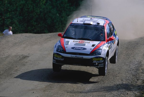 2002 World Rally ChampionshipNeste Rally of Finland. 8th - 11th August 2002.Carlos Sainz/Luis Moya, Ford Focus RS WRC, action.World Copyright: McKlein/LAT Photographicref: 35mm Image A07