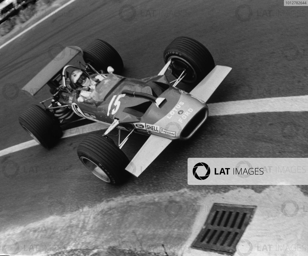 2003 Racing Past. . Exhibition1969 French Grand Prix, Clermont-Ferrand. Jochen Rindt (Lotus 49B-Cosworth), wearing the helmet of his friend, Piers Courage.World Copyright - LAT PhotographicExhibition ref: a044