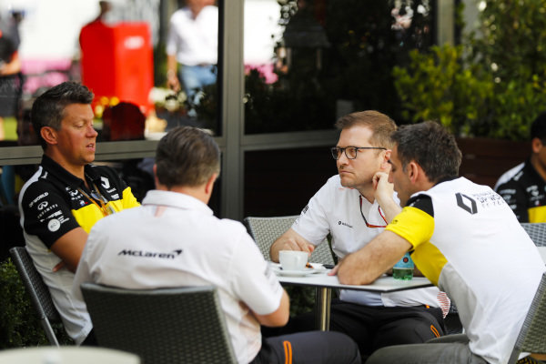 Zak Brown, Executive Director, McLaren, Andreas Seidl, Team Principal, McLaren and Cyril Abiteboul, Managing Director, Renault F1 Team