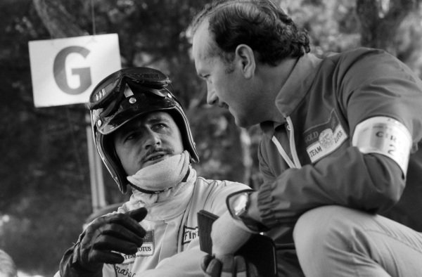 Graham Hill and Colin Chapman.