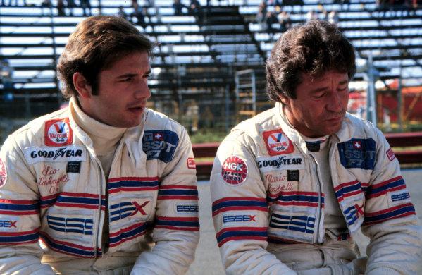1980 Formula 1 World Championship.Elio de Angelis (left) and Mario Andretti (Lotus-Ford Cosworth).Ref-D1A 03.World - LAT Photographic