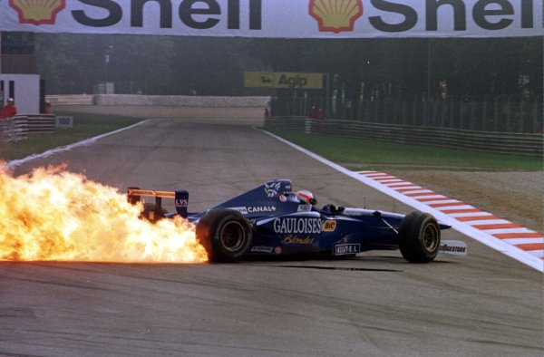 1997 Italian Grand Prix.Monza, Italy.5-7 September 1997.Jarno Trulli (Prost JS45 Mugen Honda) suffers an exploded engine during practice (Pic 1 of 3).World Copyright - Coates/LAT Photographic
