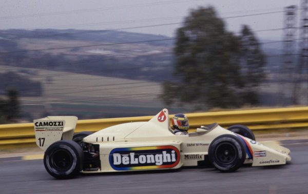 1985 South African Grand Prix.Kyalami, South Africa.17-19 October 1985.Gerhard Berger (Arrows A8 BMW) 5th position.World Copyright - LAT Photographic