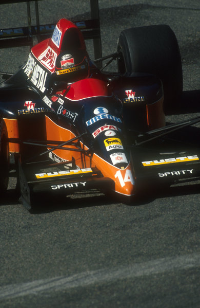 1990 San Marino Grand Prix.Imola, Italy.11-13 May 1990.Olivier Grouillard (Osella FA1M Ford). He exited the race because of a wheelbearing failure on lap 53.Ref-90 SM 01.World Copyright - LAT Photographic