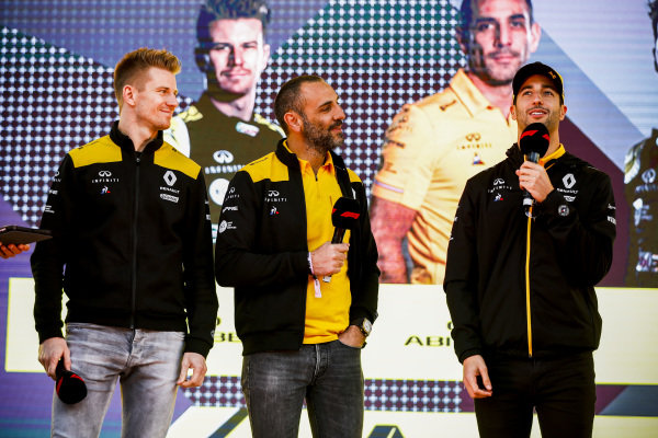 Nico Hulkenberg, Renault F1 Team, Cyril Abiteboul, Managing Director, Renault F1 Team and Daniel Ricciardo, Renault on stage at the Federation Square event