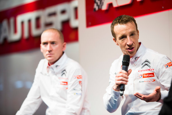 Autosport International Exhibition. National Exhibition Centre, Birmingham, UK. Friday 9 January 2015. Kris Meeke and Paul Nagle on the Autosport stage. World Copyright: Malcolm Griffiths/LAT Photographic. ref: Digital Image A50A0772