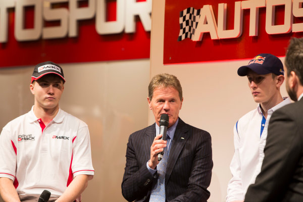 Autosport International Exhibition. National Exhibition Centre, Birmingham, UK. Thursday 8 January 2015. Malcolm Wilson, Elfyn Evans and Sander Pam on the Autosport stage. World Copyright: Malcolm Griffiths/LAT Photographic. ref: Digital Image A50A0462