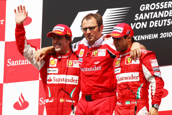Ferrari reconvene on the podium (L to R): race winner Fernando Alonso (ESP) Ferrari; Stefano Domenicali (ITA) Ferrari General Director; Felipe Massa (BRA) Ferrari, second. Formula One World Championship, Rd 11, German Grand Prix, Race, Hockenheim, Germany, Sunday 25 July 2010.