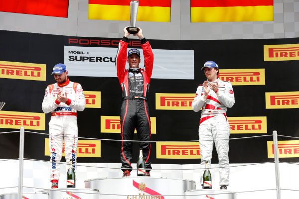 Circuit de Catalunya, Barcelona, Spain. Sunday 10 May 2015. Michael Ammermuller, No.5 Lechner Racing Middle East, 1st position, Kuba Giermaziak, No.1 VERVA Lechner Racing Team, 2nd position, and Christian Engelhart, No.14 MRS GT-Racing, 3rd position, on the podium. World Copyright: Alastair Staley/LAT Photographic. ref: Digital Image _79P8864