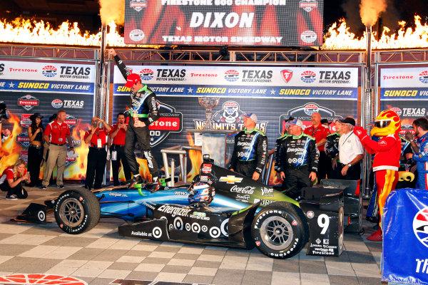 5-6 June, 2015, Fort Worth, Texas USA Scott Dixon celebrates in victory lane ?2015, Sam CobbLAT Photo USA