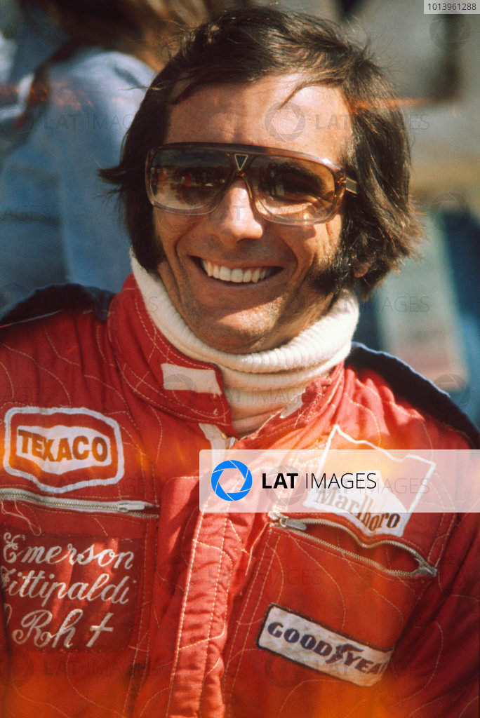 Watkins Glen, New York, USA. 3-5 October 1975. Emerson Fittipaldi (McLaren M23-Ford), 2nd position, portrait World Copyright: LAT Photographic Ref: 75USA07