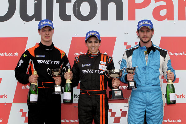 2014 Protyre Motorsport Ginetta GT5 Challenge, Oulton Park, Cheshire. 19th April 2014. Race 2 G40 Podium (l-r) George Gamble (GBR) TCR Ginetta G40, Ollie Chadwick (GBR) Xentek Motorsport Ginetta G40, Gary Simms (GBR) Buddy Racing Ginetta G40. World Copyright: Ebrey / LAT Photographic.